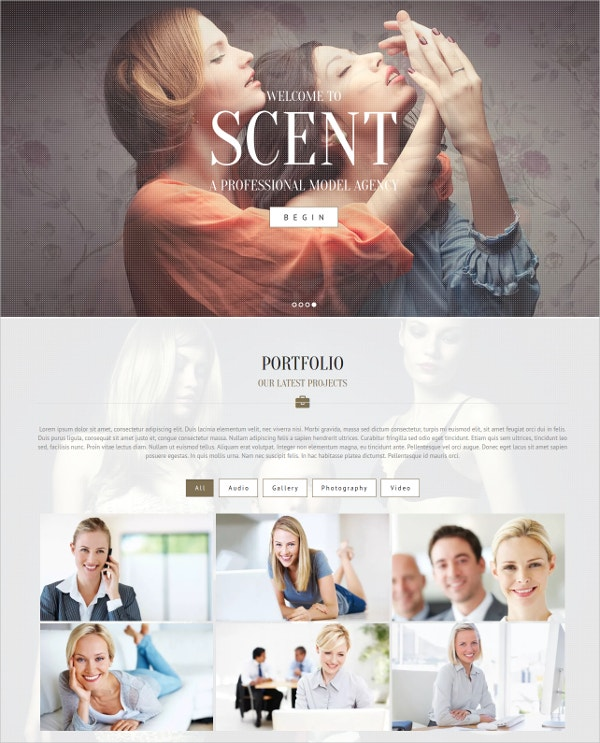 model agency portfolio wordpress theme