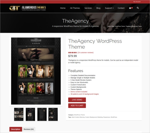 wordpress theme for model agency
