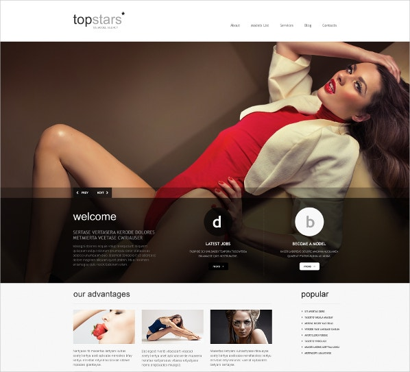 Popular Model Agency WordPress Theme