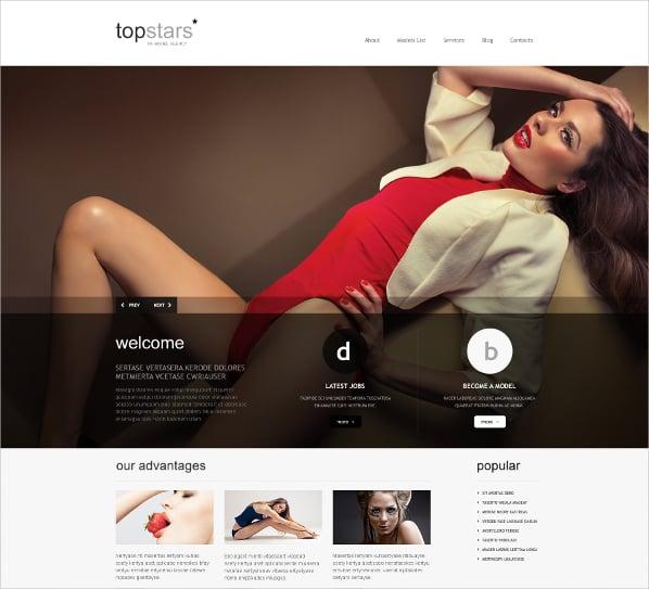 popular model agency wordpress theme