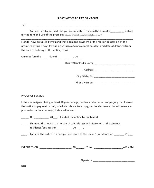 3 Day Eviction Notice Form Template