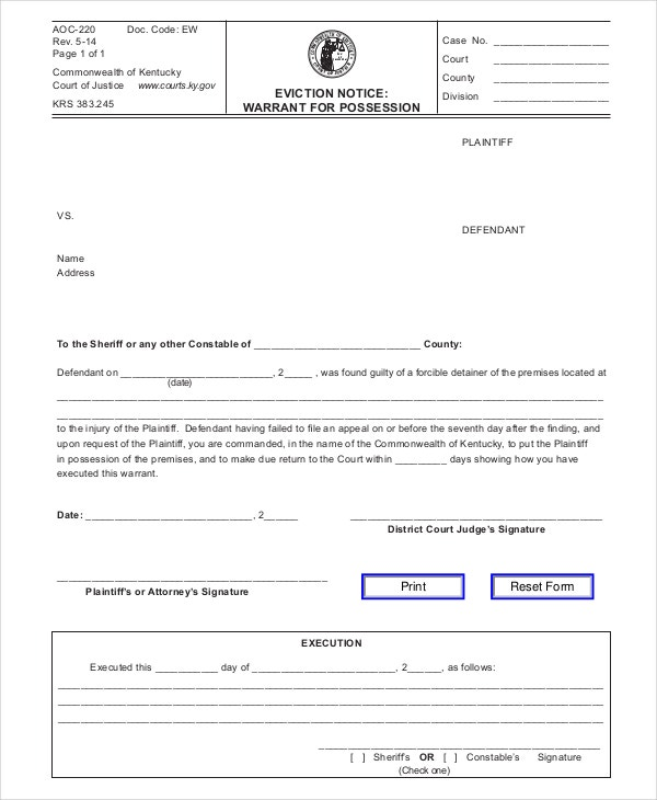 Printable Eviction Notice Form Template  Free Printable Eviction Notices