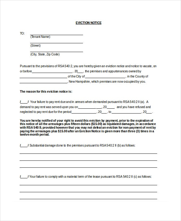 Standard Eviction Notice Form Template  Free Printable Eviction Notice Forms