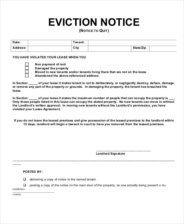 Tenant Eviction Notice Form Template  Eviction Form Template