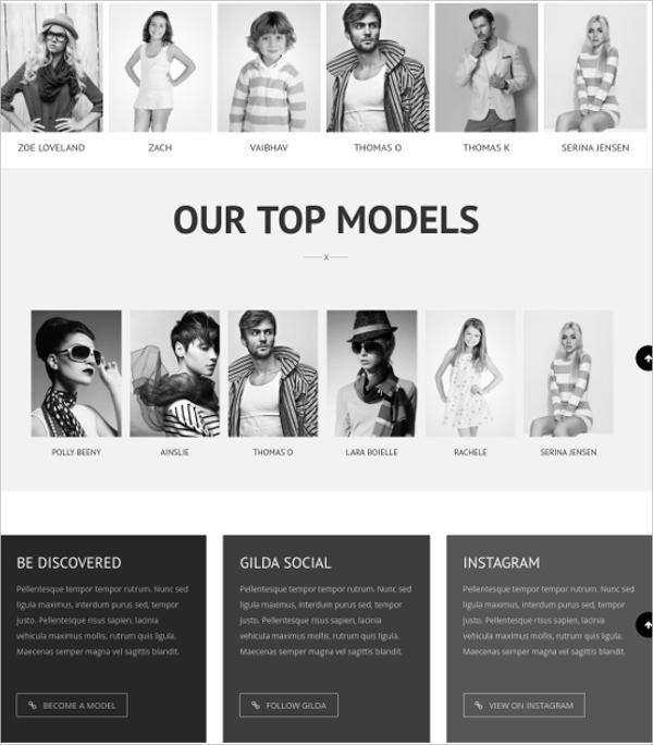 15 modeling agency wordpress themes templates free premium templates. Black Bedroom Furniture Sets. Home Design Ideas