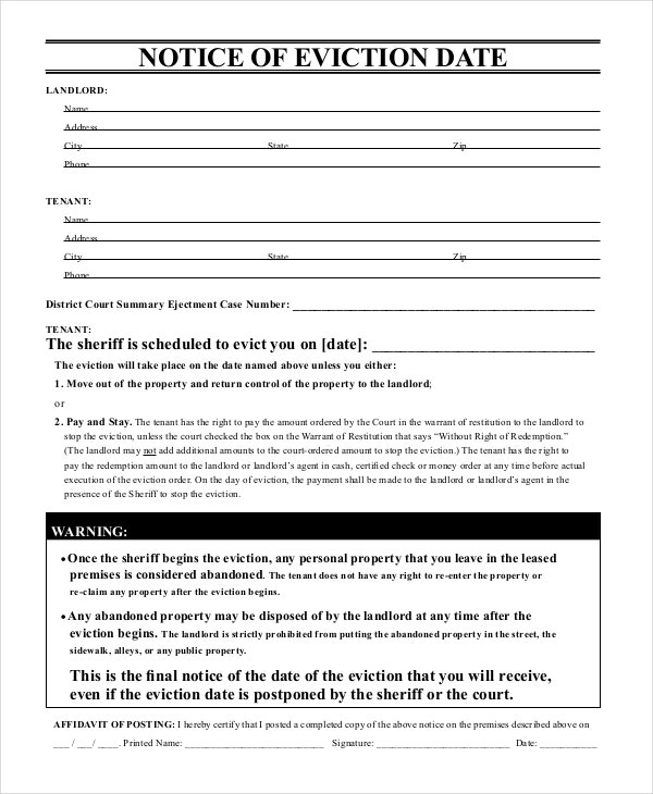 Free Eviction Form  BesikEightyCo