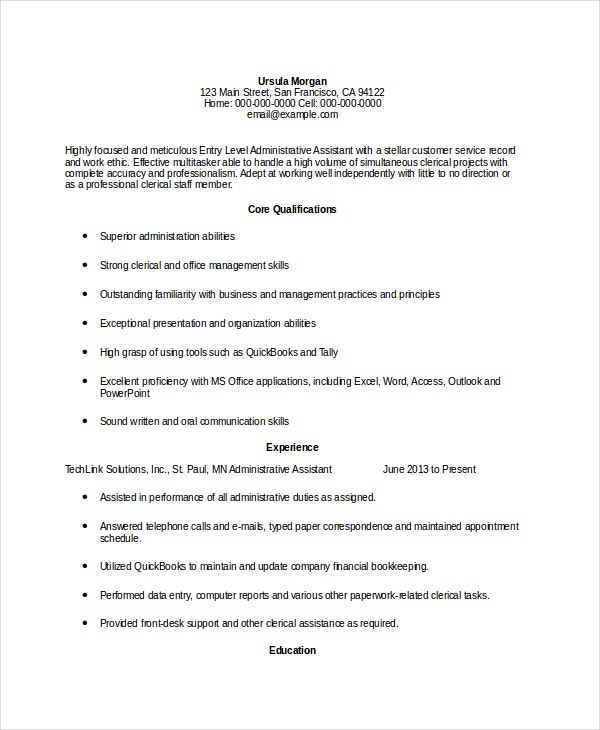 Resume Sample For Legal Administrative Assistant