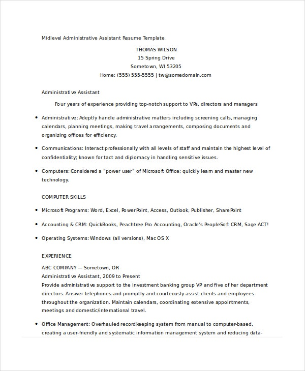 midlevel administrative assistant resume template