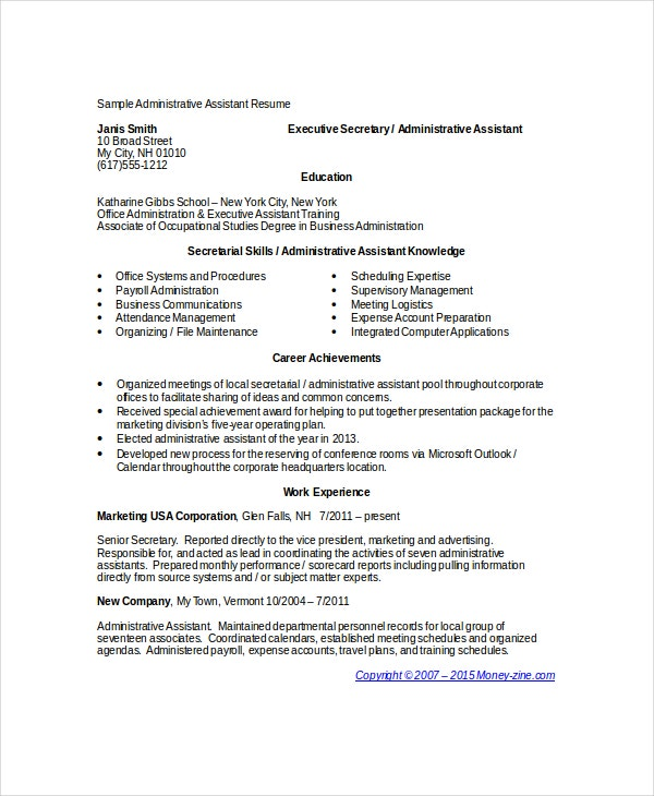 Administrative Assistant Resumes  Free Sample Example