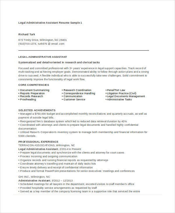 Marvelous Legal Administrative Assistant Resume
