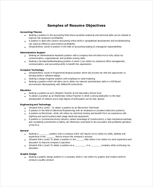sample resume objective 18 sample resume objectives free