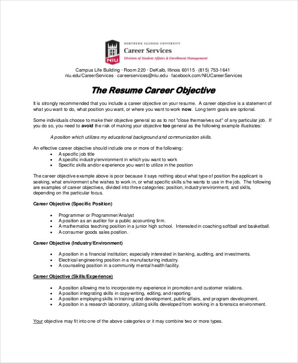 18 sample resume objectives free sample example format free - Basic Resume Objective Examples