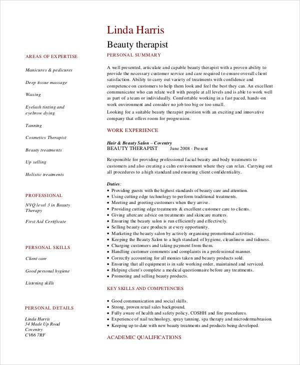 beautician resume career objective