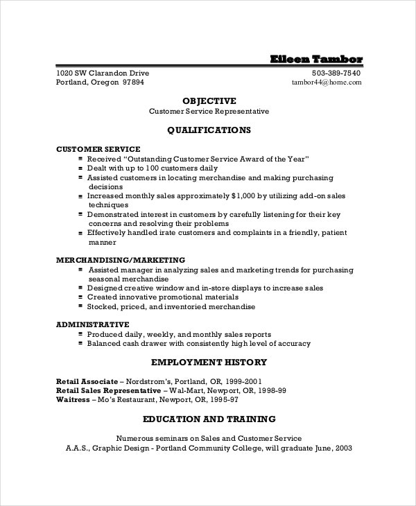 Resume Objective For Customer Service Sample Customer Service