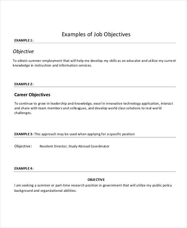 Examples of job objectives on resumes