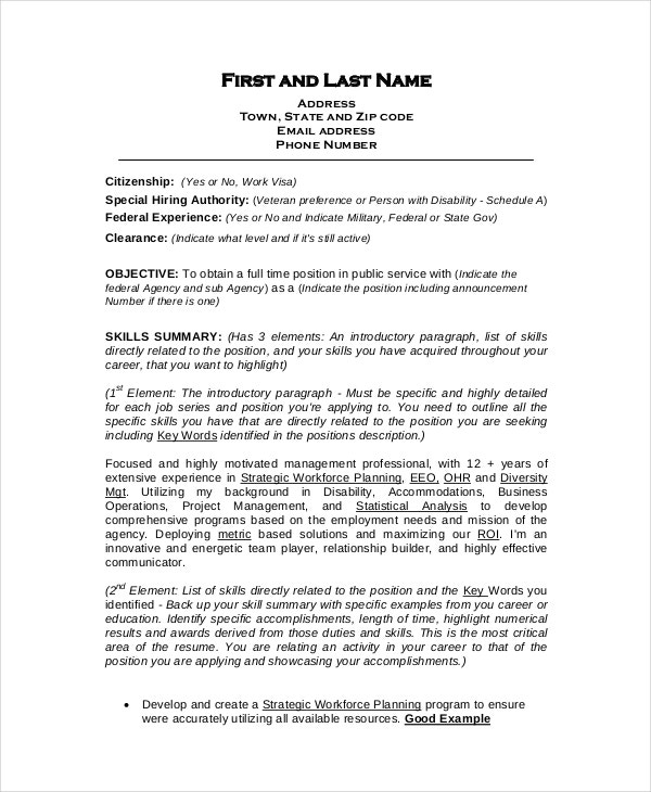 federal resume carrer objective