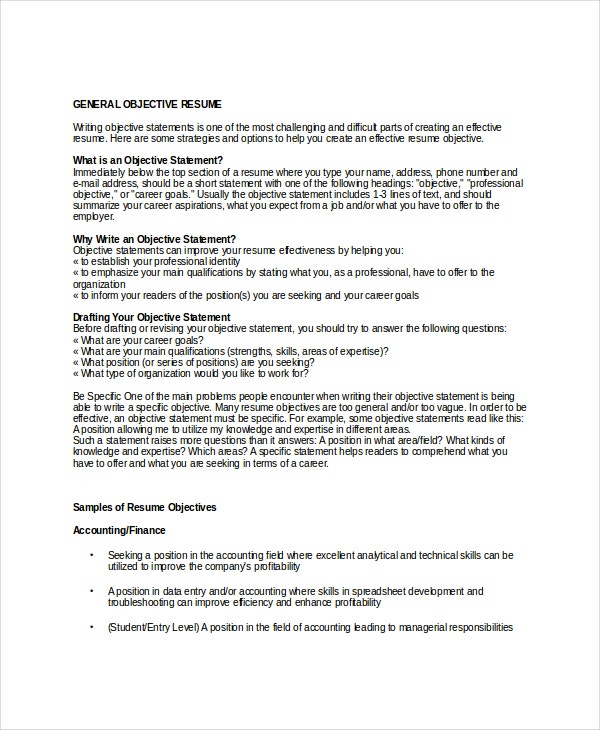 General Resume Objectives | 18 Sample Resume Objectives Pdf Doc Free Premium Templates