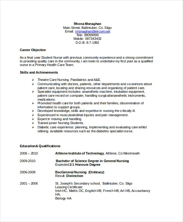 Nursing Resume Objective Sample  Nurse Sample Resume
