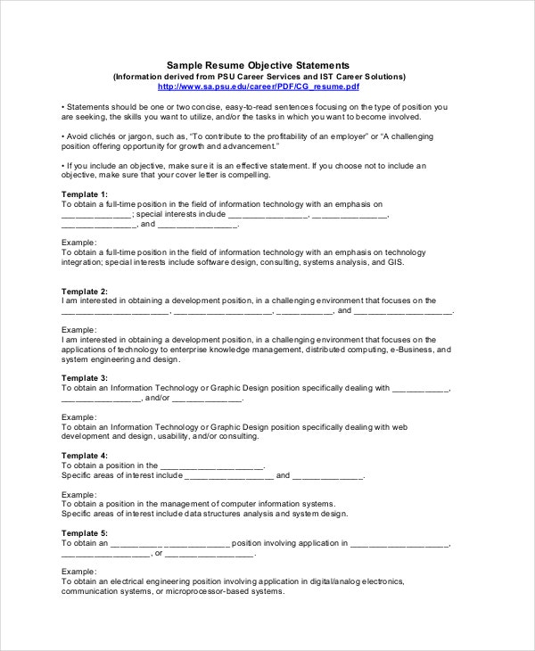 resume objective statements template