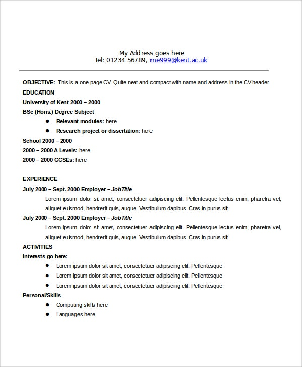 standard format resume objective sample