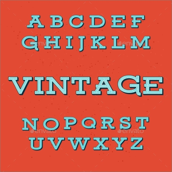 retro vintage alphabet font