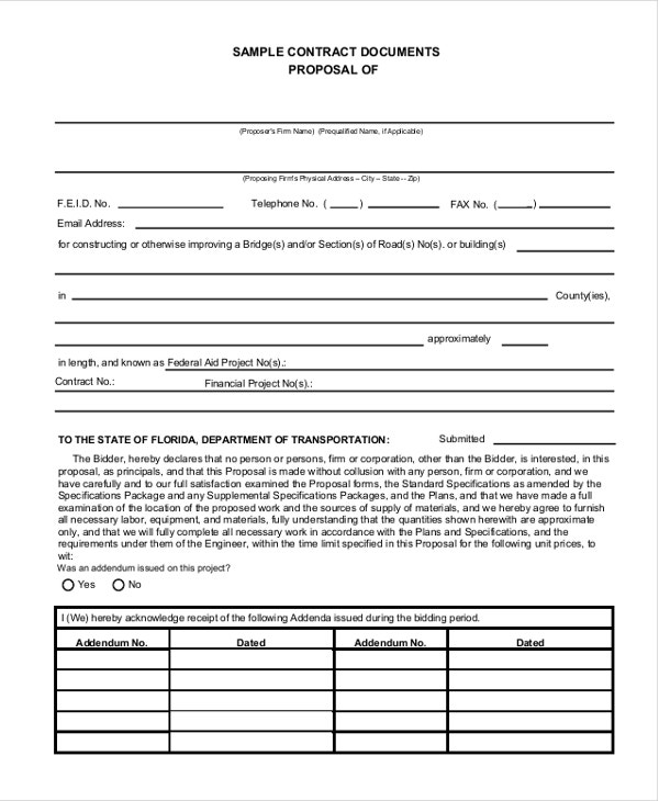 Proposal Template   Free Word  Document Downloads  Free