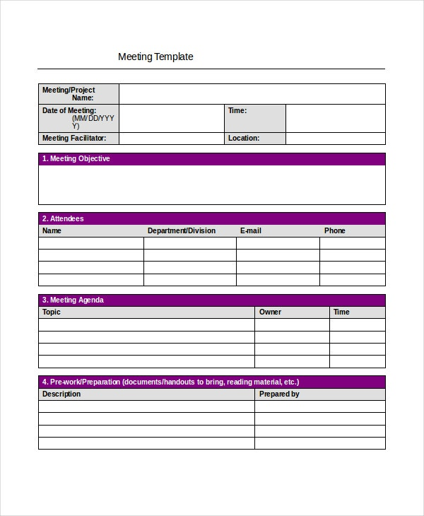simple project meeting minutes template