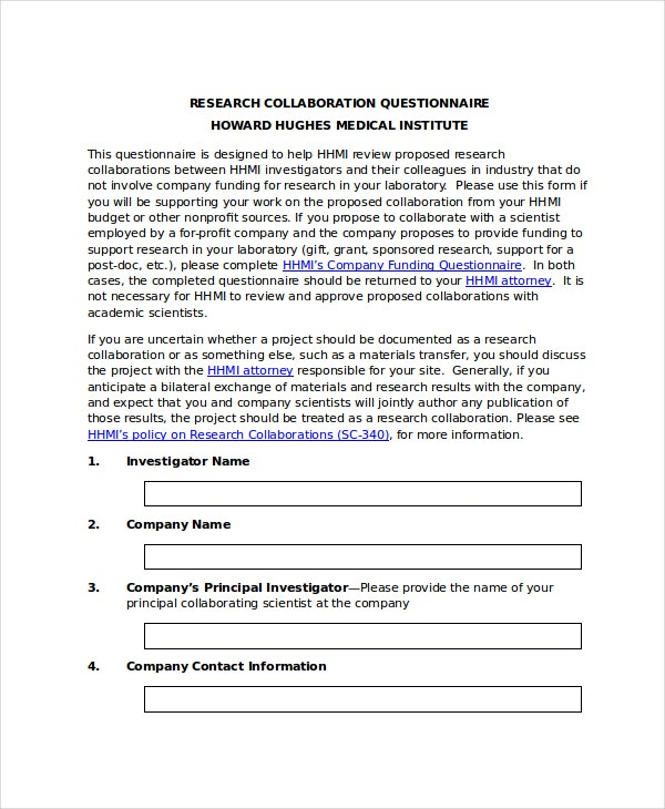 research questionnaire template