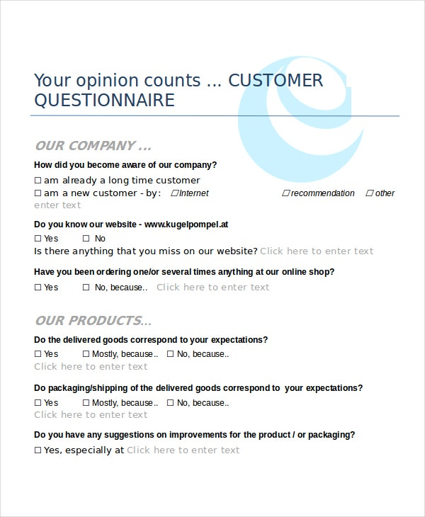 Questionnaire Template Word - 11+ Free Word Document ...