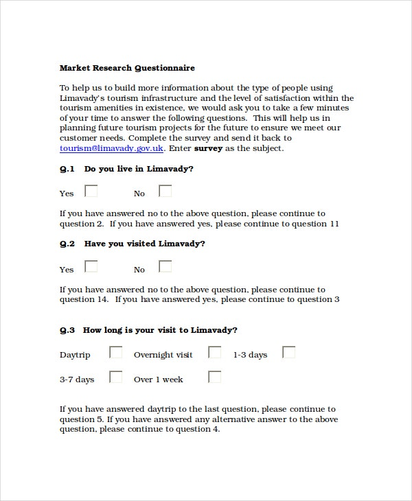 Questionnaire template word 11 free word document for Market research document template