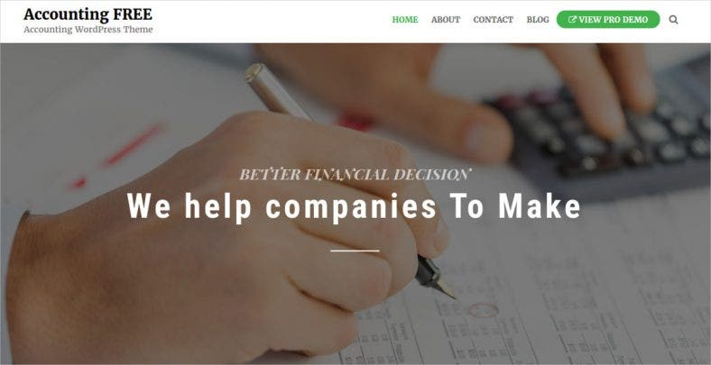 Free Minimal Professional Accounting Firm WordPress Website Theme