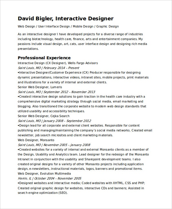 interactive resume template 6 free word pdf document downloads