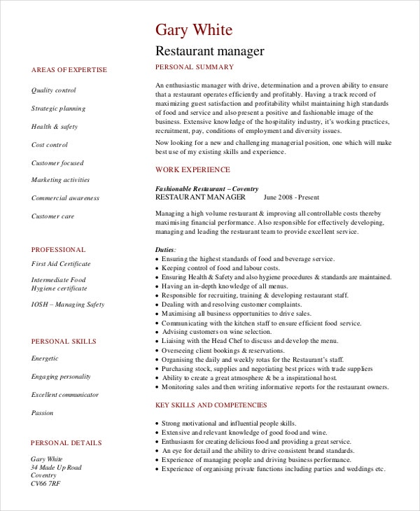 Restaurant Manager Resume Template 6 Free Word Pdf