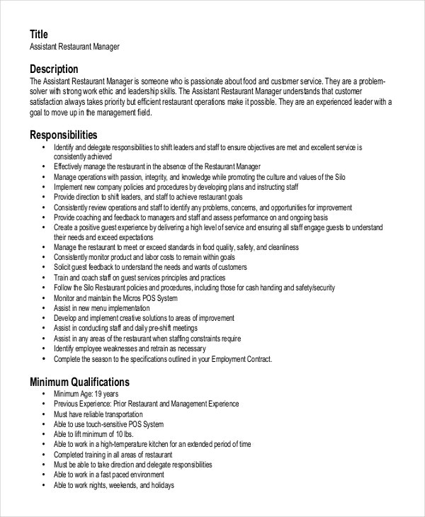 assistant restaurant manager resume. Resume Example. Resume CV Cover Letter