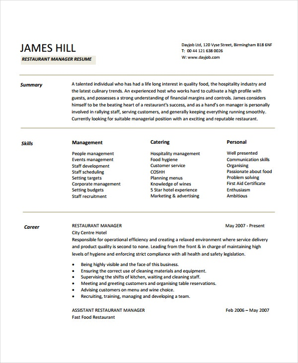 Superbe Restaurant Manager Resume Sample