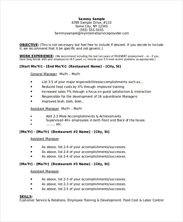 sample resume microsoft word jk assistant restaurant manager - Assistant Manager Sample Resume