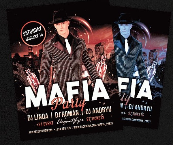 Mafia Party Free Flyer PSD Template