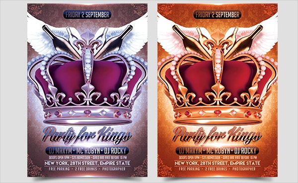 party for kings flyer psd template