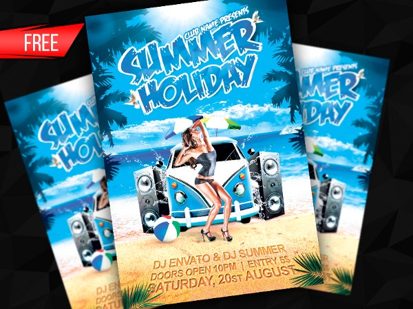 free summer holiday flyer template psd