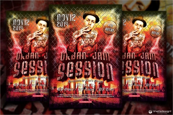 urban jam session flyer free template