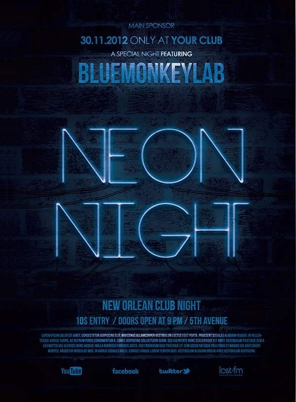 Free Neon Night Flyer