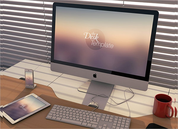 Desk Template Apple PSD mockups
