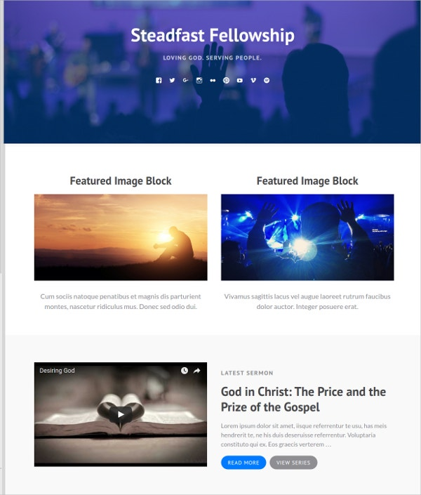 Responsive Typography WordPress Church Theme