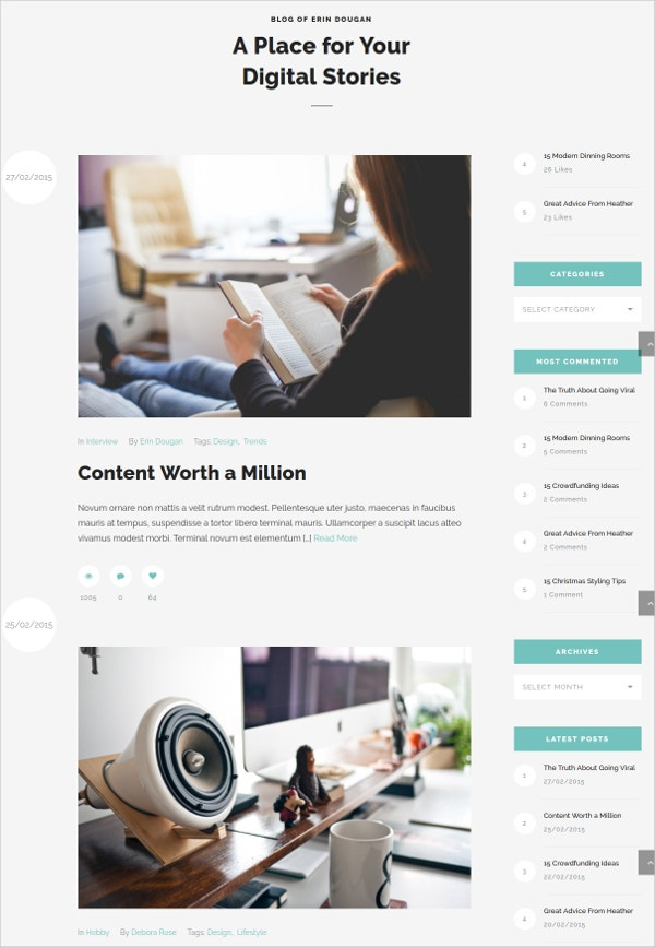 Creative Typography Design Blog WordPress Theme