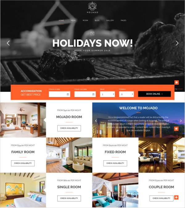 Mobile Friendly Resort & Hotel WordPress Theme