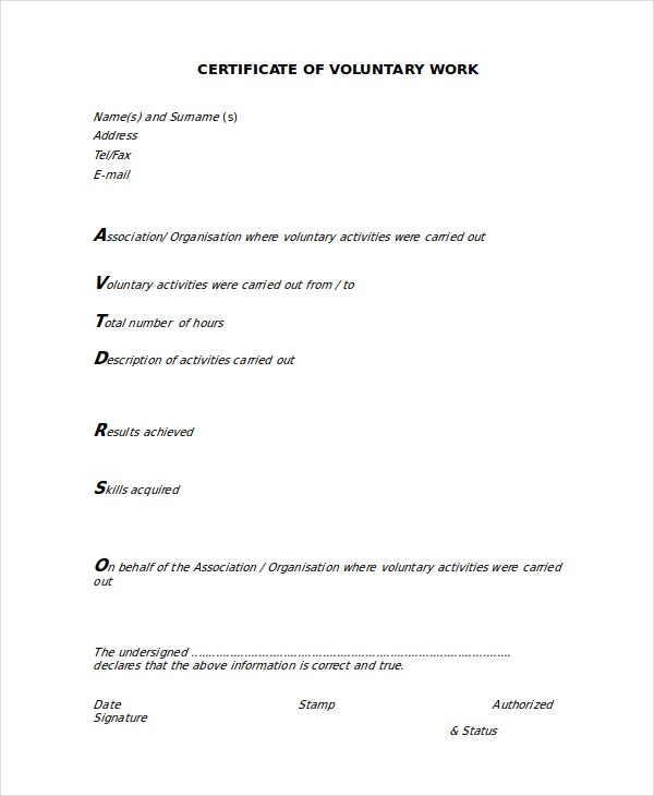 Volunteer Certificate Template - 7+ Free Word, Pdf Document