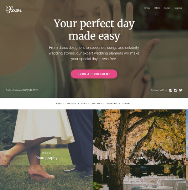 Mobile Friendly WordPress Wedding Theme