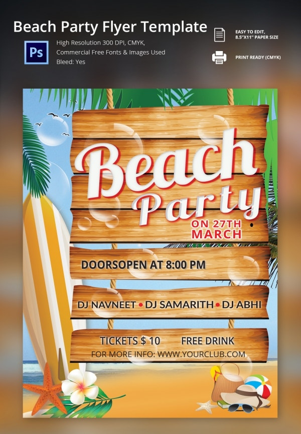 freebie of the day beach party flyer template