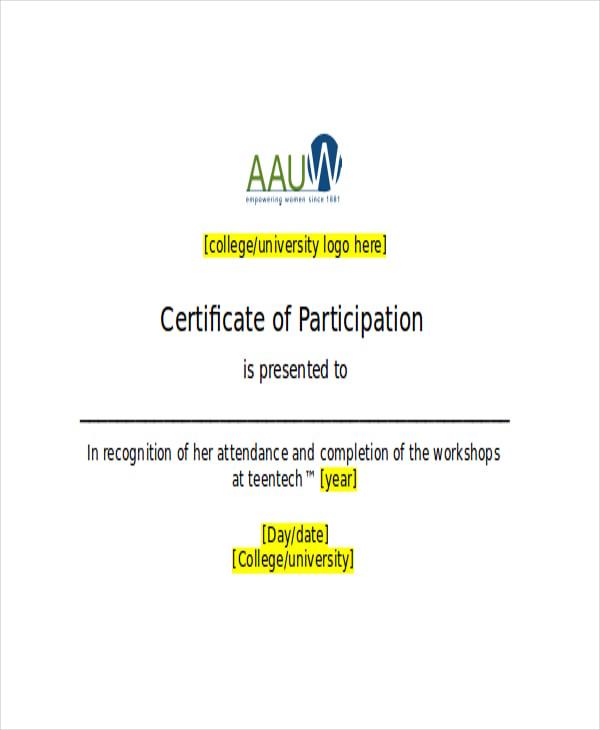 Student Participate Tennis Certificate