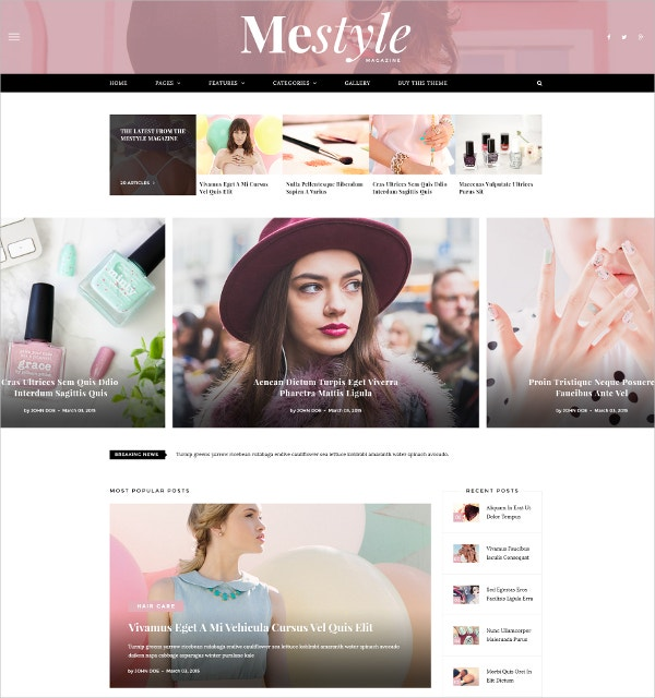 Beauty Blog AngularJS WordPress Theme $49